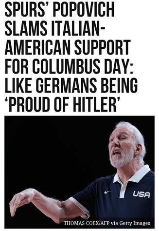 Spurs Popovich Slams Italian-American Support for Columbus Day: Like Germans Being 'Proud of Hitler'