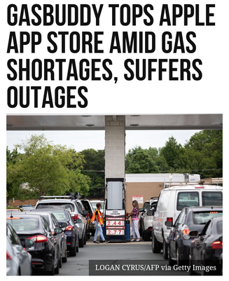 GasBuddy Tops Apple App Store Amid Gas Shortages, Suffers Outages