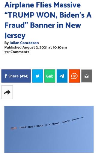 """Airplane Flies Massive """"TRUMP WON, Biden's A Fraud"""" Banner in New Jersey"""