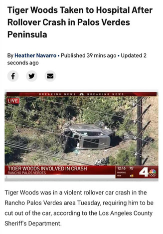 Tiger Woods in hospital after crash. Removed from car with jaws of life