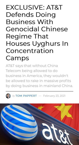 AT&T Defends Doing Business With Genocidal Chinese Regime