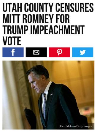 Utah County Censures Mitt Romney for Trump Impeachment Vote