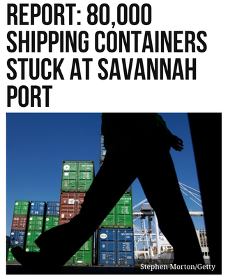 Report: 80,000 Shipping Containers Stuck at Savannah Port