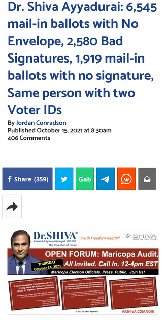 Dr. Shiva Ayyadurai: 6,545 mail-in ballots with No Envelope, 2,580 Bad Signatures, 1,919 mail-in