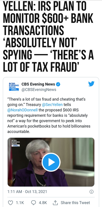 IRS Plan to Monitor $600+ Bank Transactions 'Absolutely Not' Spying — 'There's a Lot of Tax Fraud'