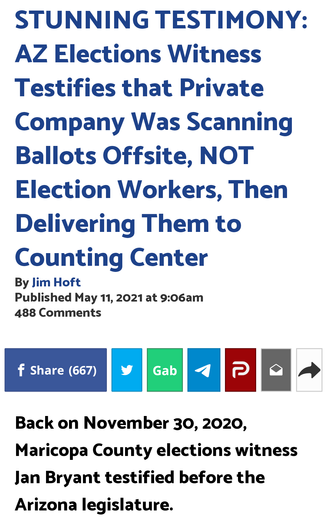 AZ Elections Witness Testifies that Private Company Was Scanning Ballots Offsite