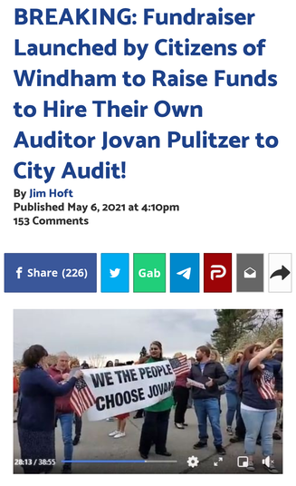 Fundraiser Launched by Citizens of Windham to Raise Funds to Hire Their Own Auditor Jovan Pulitzer