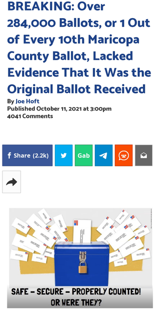 BREAKING: Over 284,000 Ballots, or 1 Out of Every 10th Maricopa County Ballot, Lacked Evidence