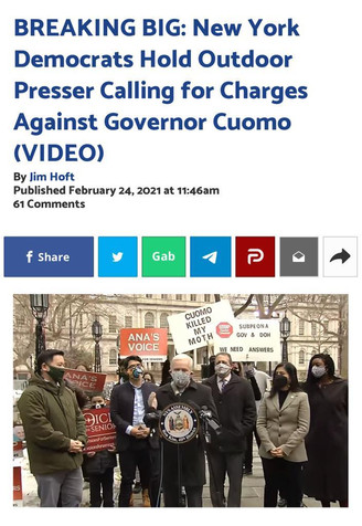 New York Democrats Hold Outdoor Presser Calling for Charges Against Governor Cuomo
