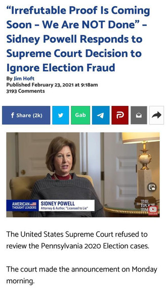 Sidney Powell Responds to Supreme Court Decision to Ignore Election Fraud