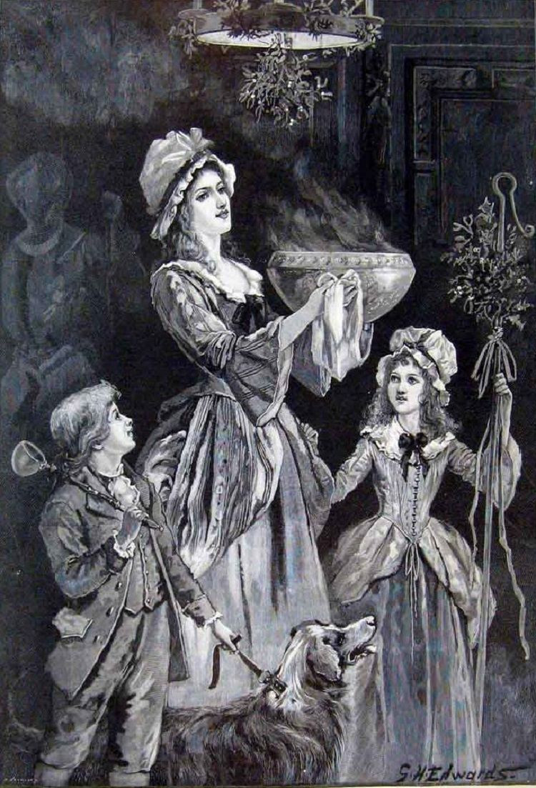 Sketch of wassailing tradition