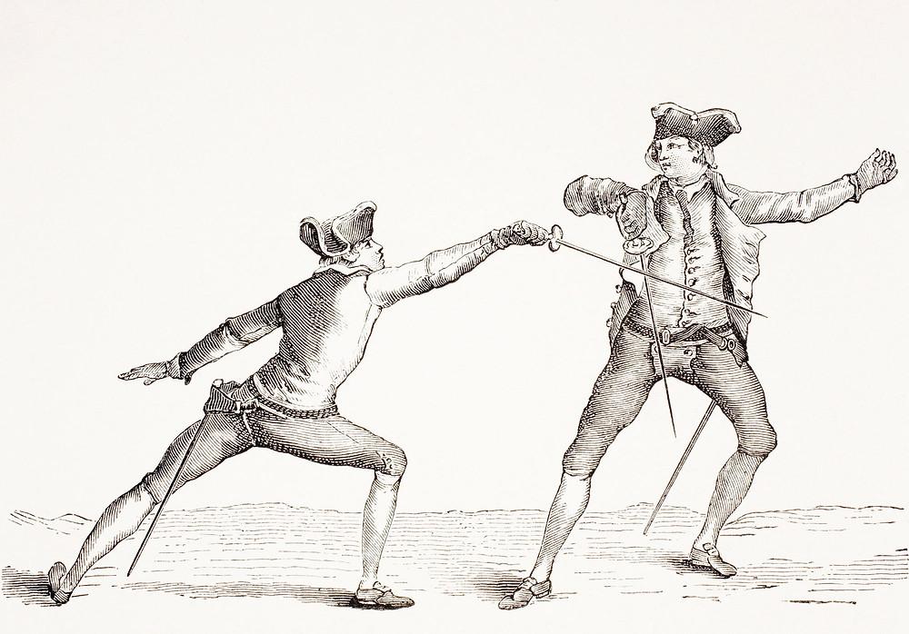 Sketch of A Swordsman Parries A Thrust