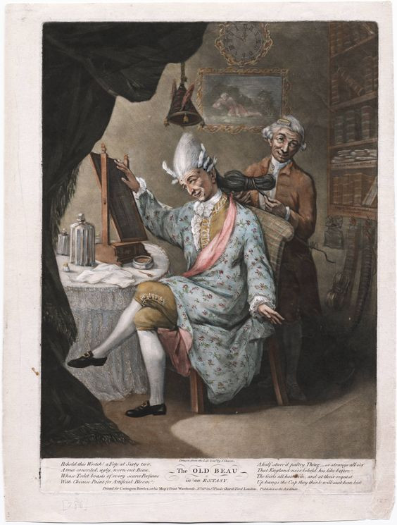 Painting of The Old Beau in Exstacy by John Dixon, 1773