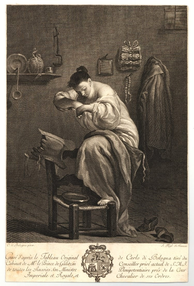 Engraving of a young woman bathing