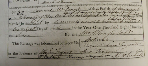 18th century marriage record