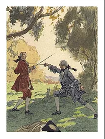 Painting of 18th century men fencing