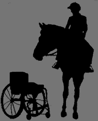 Silhouette of person on horse looking at wheelchair