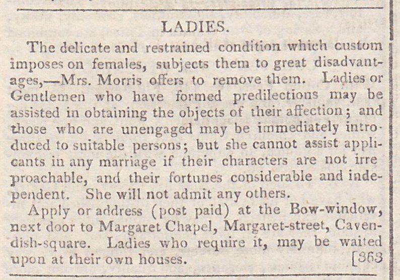 Advertisement excerpt from La Belle Assemblee 1807