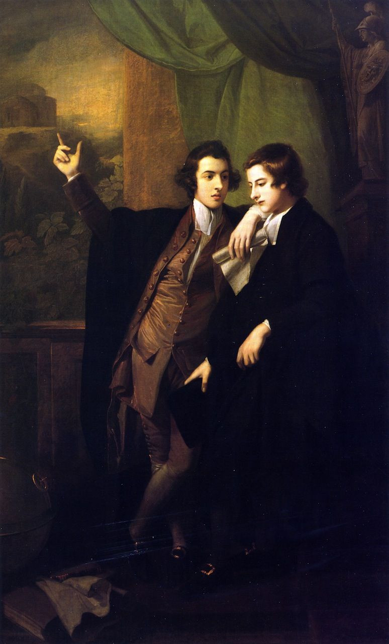 Painting of two boys at school