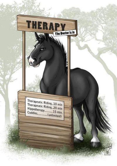 Cartoon of a horse therapist