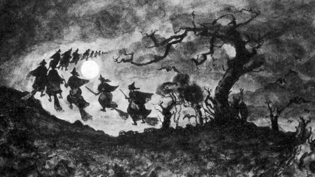 Sketch of witches on brooms