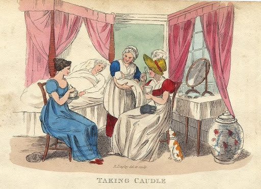 Sketch of midwives administering caudle