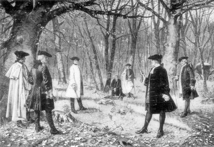 Sketch of 18th century men dueling