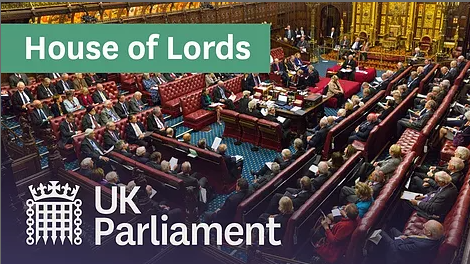 Screen capture of 21st century House of Lords, sessions viewable on YouTube