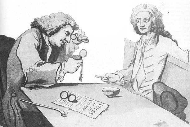 Sketch of Button's Coffee House by William Hogarth, 1720