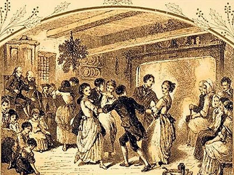 Sketch of a party with a kissing bough