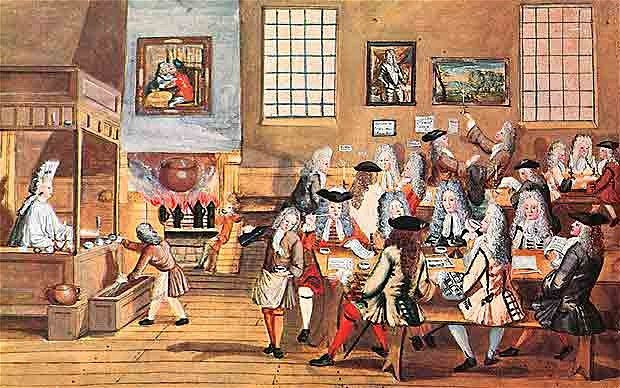 Painting of Interior of a London Coffee-House, 17th Century