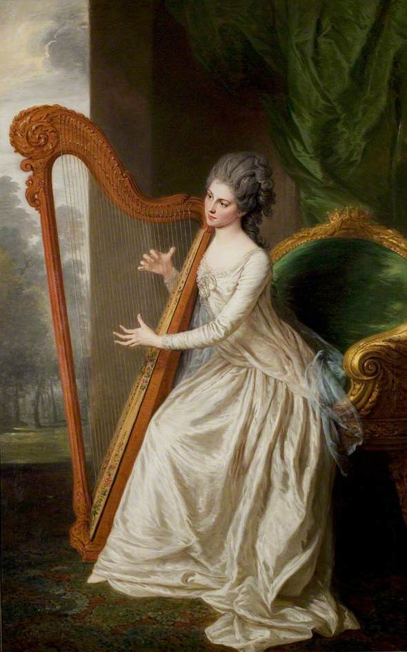 18th century woman playing a harp