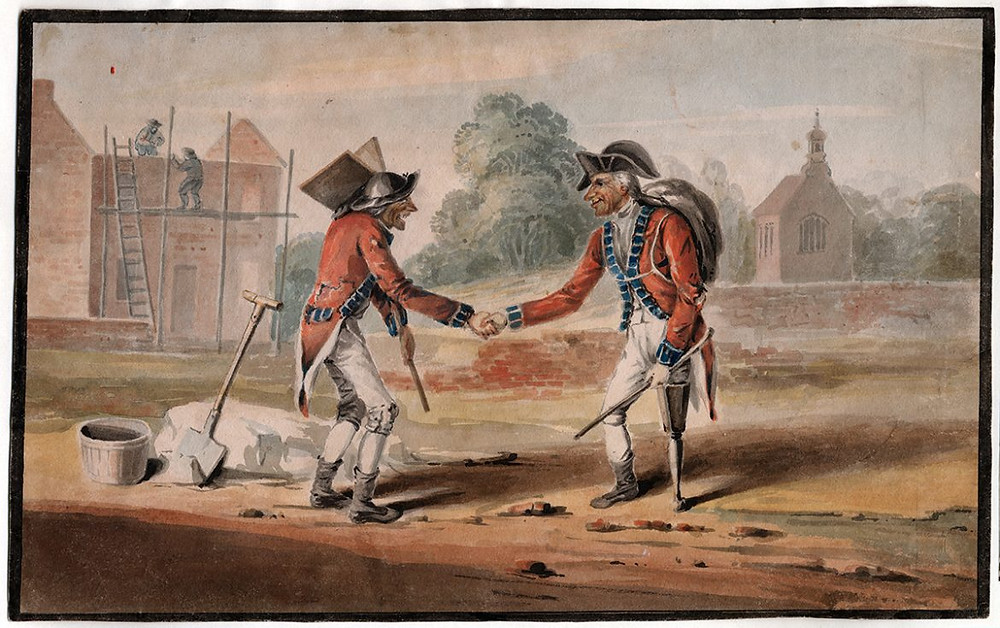 Painting of 18th century wounded warriors