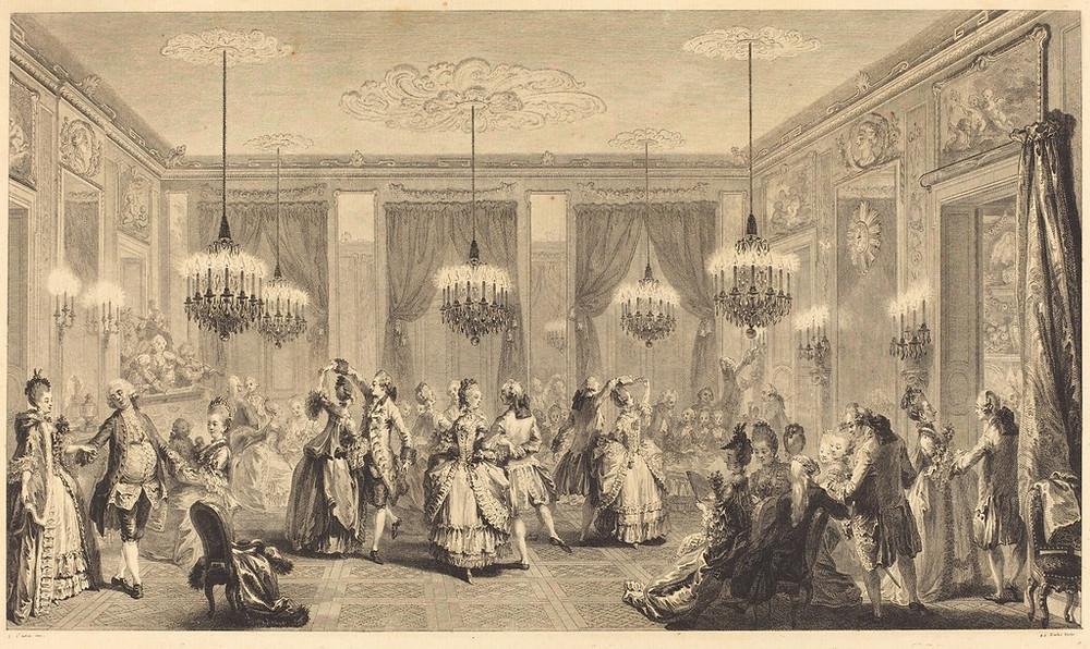 Painting by Antoine Jean Duclos of Le Bal Paré