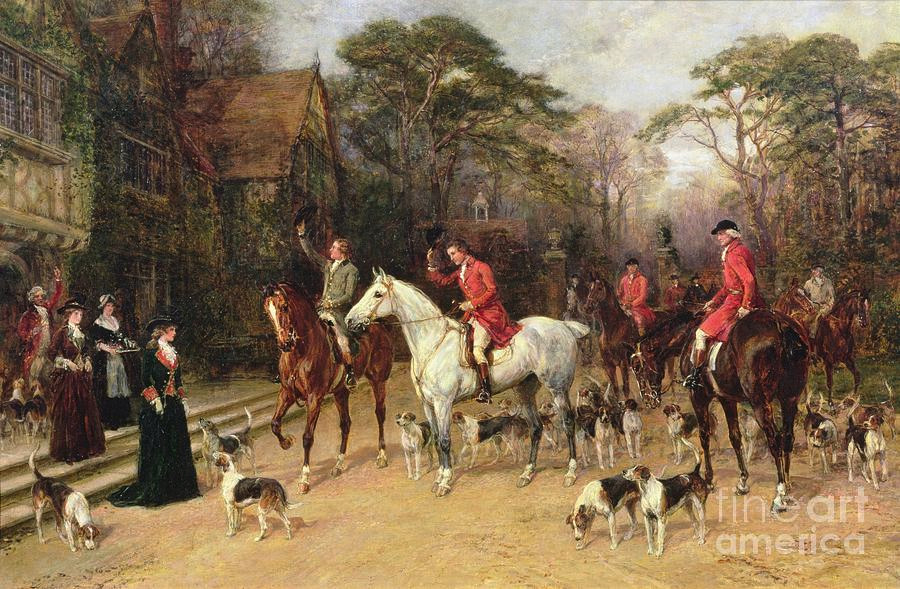 Painting of The Meet at the Manor House by Heywood Hardy