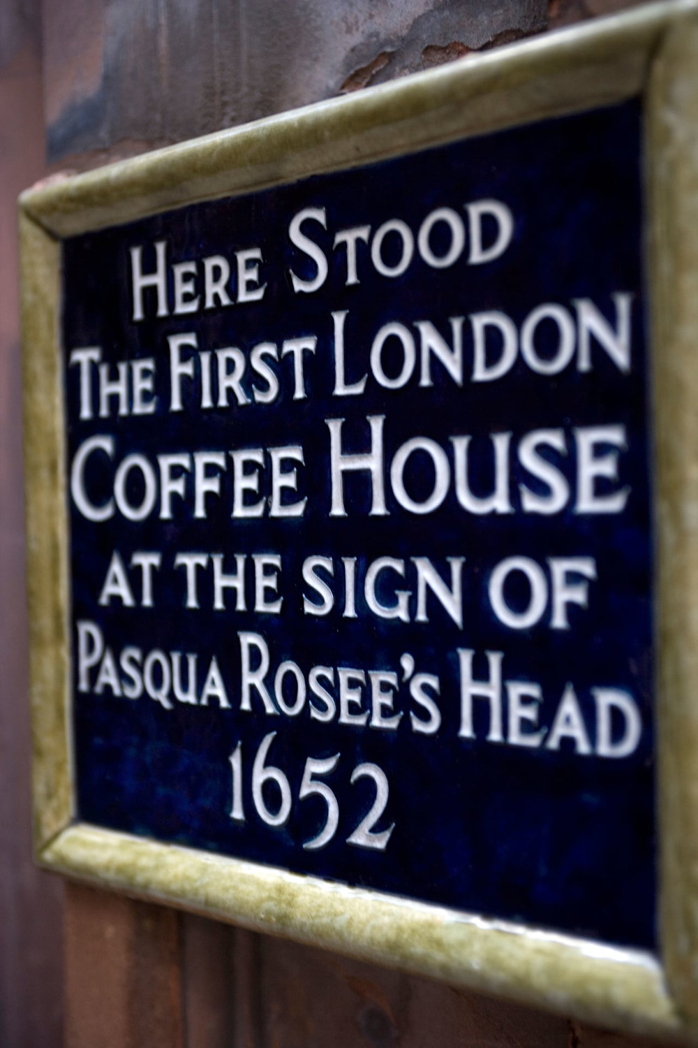 Landmark sign of the first London coffeehouse