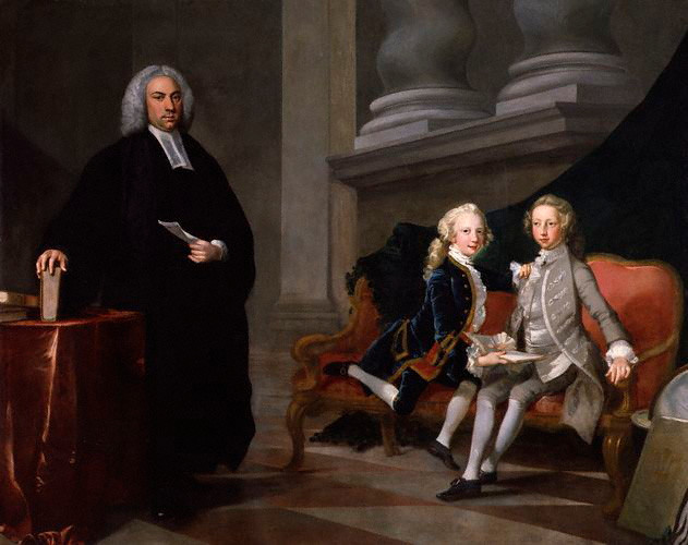 Painting of two boys in a tutoring session