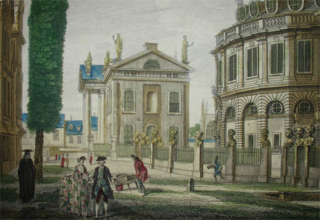 Vue d'optique, Exeter College Oxford by John Donowell & William Woollett, 1755