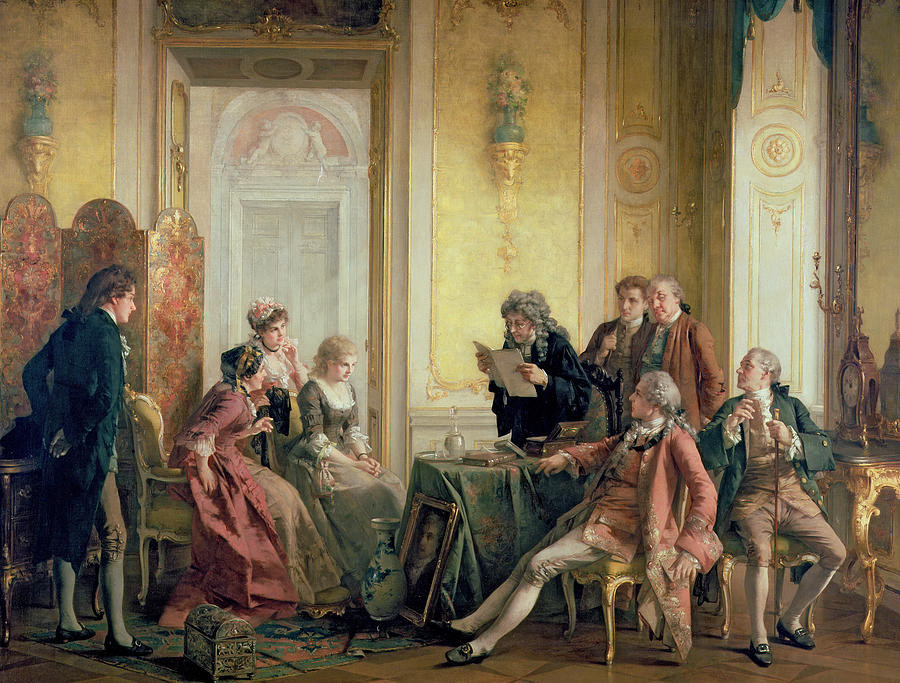 Painting showing reading of the will