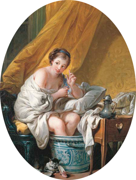 Frances Boucher painting of a young woman bathing, 1766