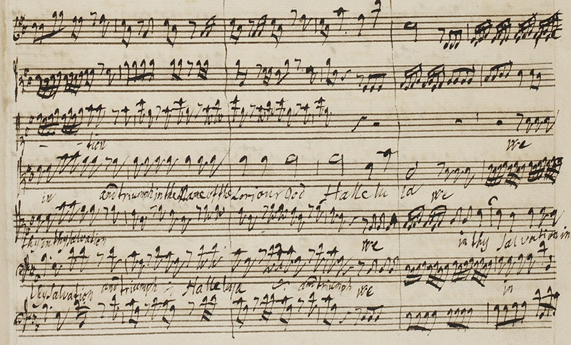 Excerpt of the composition from Handel's The King Shall Rejoice