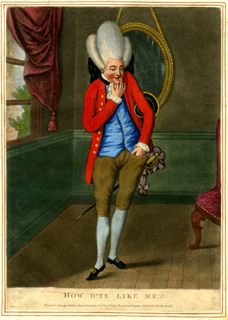 Painting of How d'ye like me [A Macaroni] by Carington Bowles, 1772