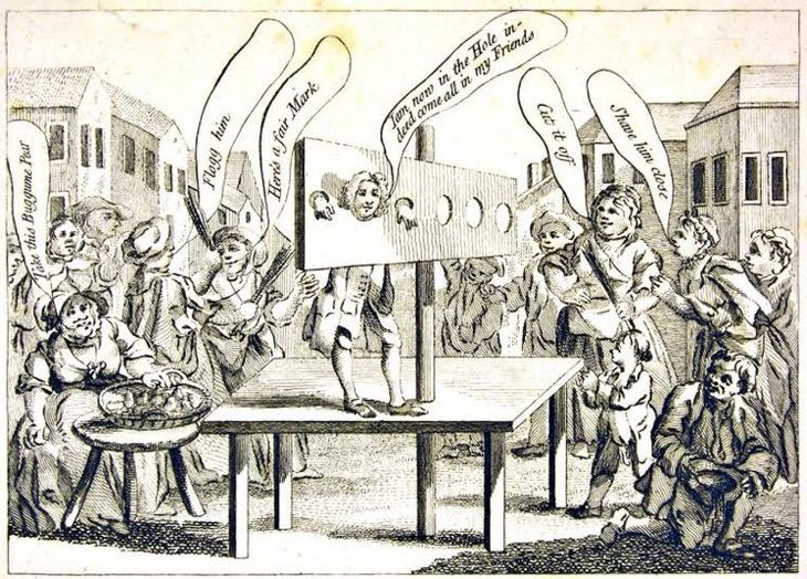 """Engraving of A """"Molly"""" at Cheapside Pillory, 1762"""