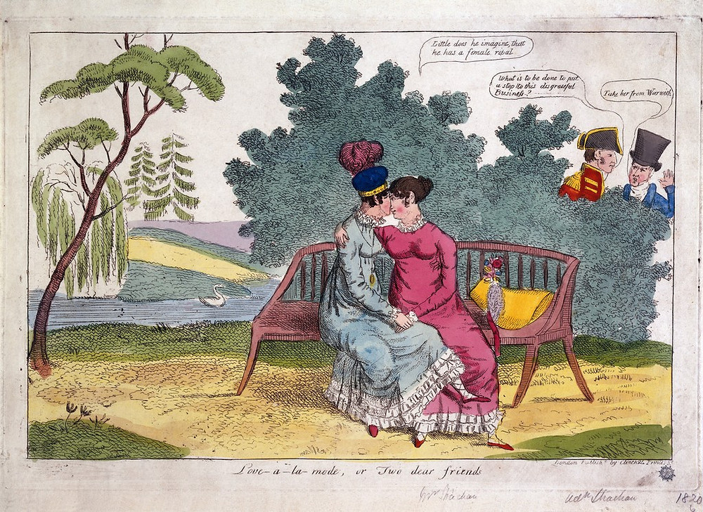 Engraving of Lady Strachan and Lady Warwick making love in a park, while their husbands look on with disapproval.