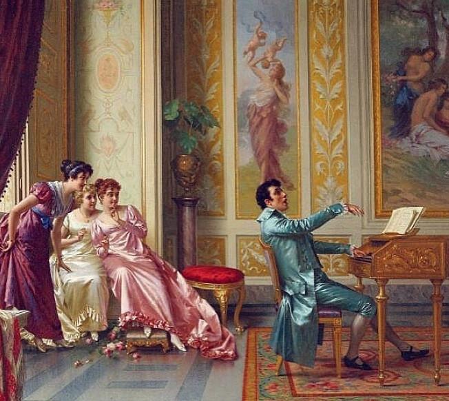 Painting of Regency era gentleman playing the piano