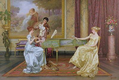 Painting of Regency era musicians