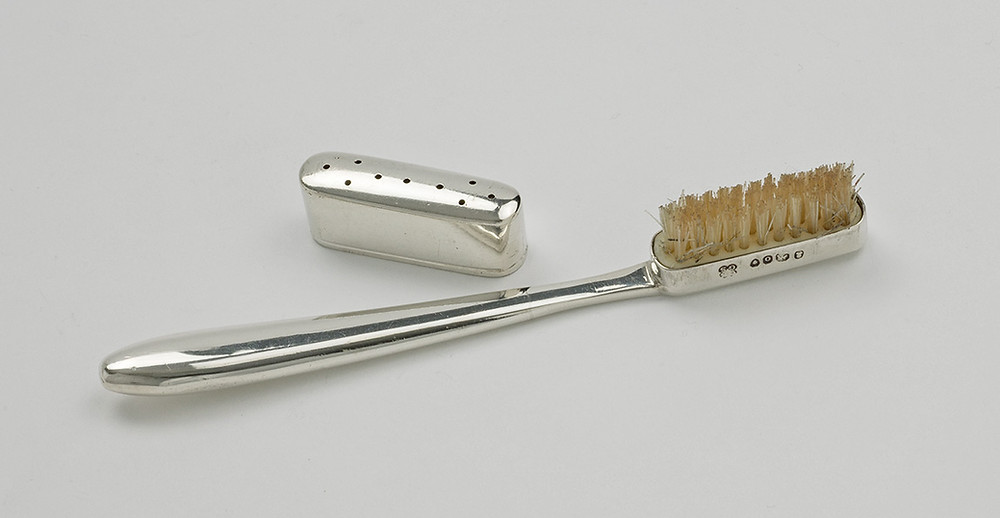 George IV's silver-mounted toothbrush & cover