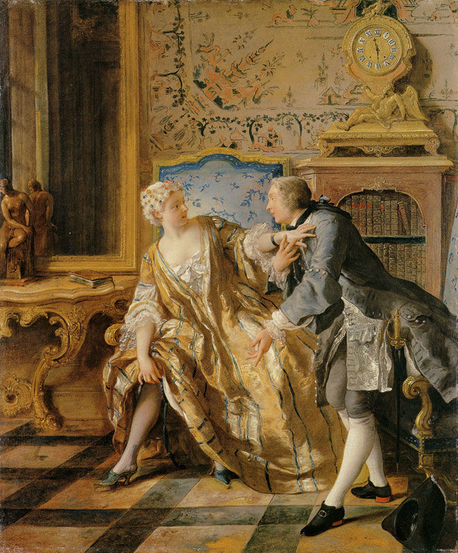 Painting of a quarreling couple