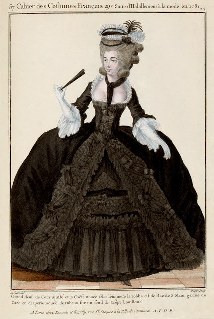 18th century woman in mourning attire