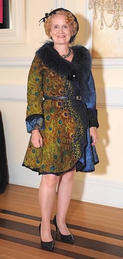 Leslie in her Peacock Jacket